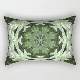 Tropical Twist - Green Leaves Kaleidoscope, Mandala Rectangular Pillow