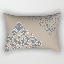 Scroll Damask Art I (outline) Crm Blues Taupe Rectangular Pillow