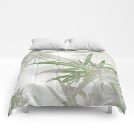 Olive Green Palm Leaves Watercolor Painting Comforters