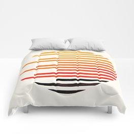 Mid Century Modern Minimalist Circle Photo Orange Staggered Stripe Pattern Comforters