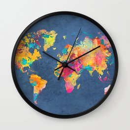world map blue 2061 #map #worldmap Wall Clock