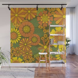 Orange, Brown, Yellow and Green Retro Daisy Pattern Wall Mural