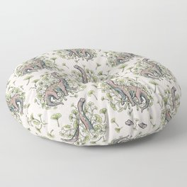 Brachio Ginkgo | Dinosaur Botanical Art Floor Pillow