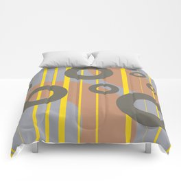 Rings and Lines in Yellow grey orange Colors Comforters