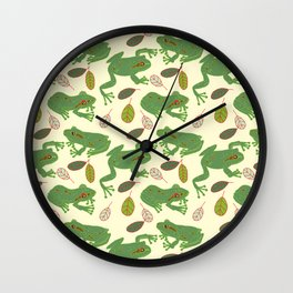 Fun Frogs with Leaves from Trees Wall Clock