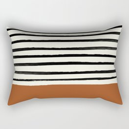 Burnt Orange x Stripes Rectangular Pillow