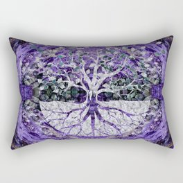 Silver Tree of Life Yggdrasil on Amethyst Geode Rectangular Pillow