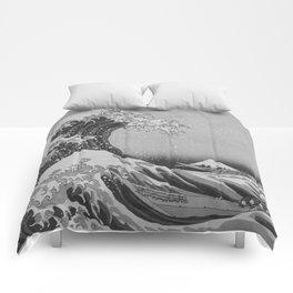 Black & White Japanese Great Wave off Kanagawa by Hokusai Comforters