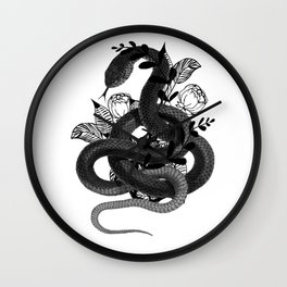 Snake with flowers background Wall Clock
