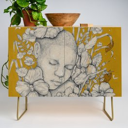 """Guardians"" - Surreal Floral Portrait Illustration Credenza"