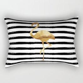 Flamingo & Stripes - Black Rectangular Pillow