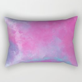 Elegant hand painted pink teal violet watercolor brushstrokes Rectangular Pillow