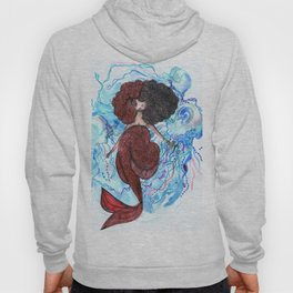Mermaid and jellyfish, red and blue Hoody