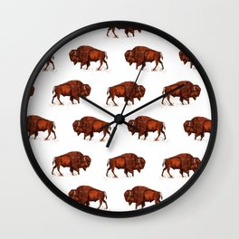 Buffalo Bison Watercolor Print Wall Clock