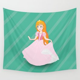 A princess drawing with light pink dress red hair and golden crown Wall Tapestry