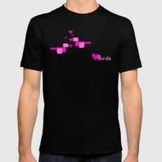 Love Birds-Pink Mens Fitted Tee MEDIUM Black