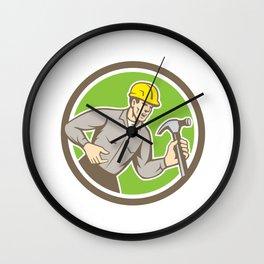 Builder Carpenter Shouting Hammer Circle Retro Wall Clock