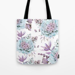 Turquoise and Violet Succulents Tote Bag