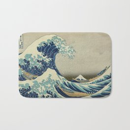 The Classic Japanese Great Wave off Kanagawa Print by Hokusai Bath Mat