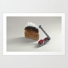 Toast on fire Art Print