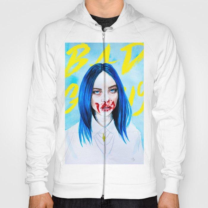 Billie Eilish Bad Guy blue music portrait fan art typography Hoody