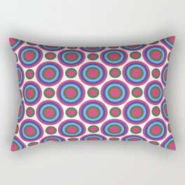 Circle Circle: Small: Fuchsia, Kelly Green, Turquoise + Blue Rectangular Pillow