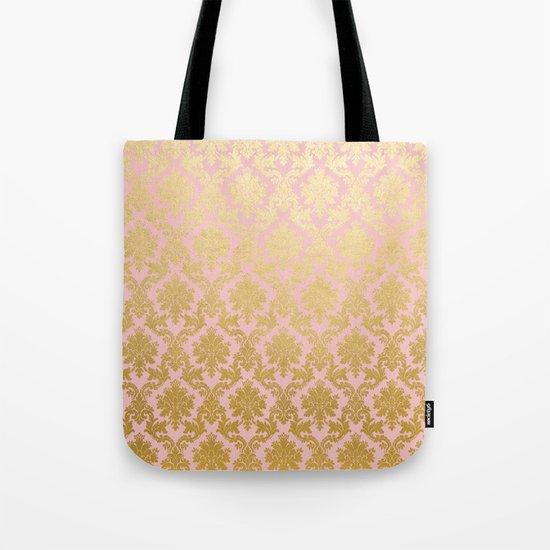Princess like - Luxury pink gold ornamental damask pattern Tote Bag