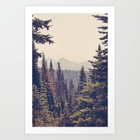 Art Prints featuring Mountains through the Trees by Kurt Rahn