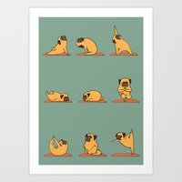 Art Prints featuring Pug Yoga by Huebucket