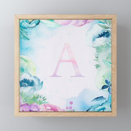 Dreamy Watercolor Flowers Monogram Art Framed Mini Art Print