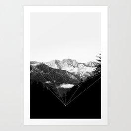 Crystal Mountain (black) Art Print