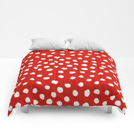 Christmas dots painted minimalist dotted pattern holiday red and white Comforters