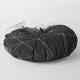 Geometric Mountains Black and White Floor Pillow