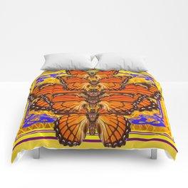 ART DECO MONARCH BUTTERFLIES GOLDEN Comforters