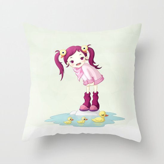 Puddle Ducks Throw Pillow