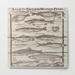 father's day fisherman gifts whitewashed wood lakehouse freshwater fish Metal Print