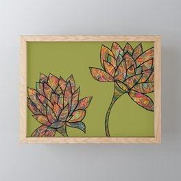 green lotus flowers Framed Mini Art Print