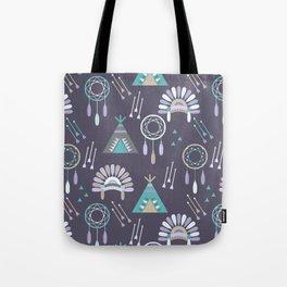 Indian Pattern Purple Tote Bag