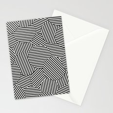Striped Disc Pattern - Black and White Stationery Cards