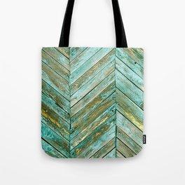 Vintage Blue Wood Tote Bag