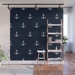 Dark Blue Anchor Pattern Wall Mural