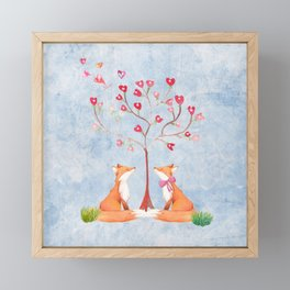 Fox love- foxes animal nature _ Watercolor illustration Framed Mini Art Print