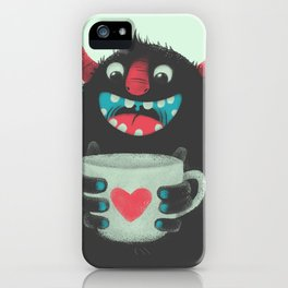 Demon with a cup of coffee iPhone Case