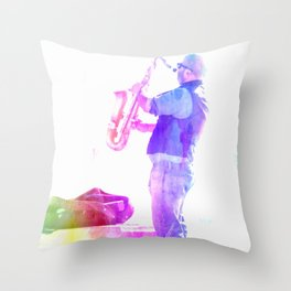 The Saxophonist Throw Pillow