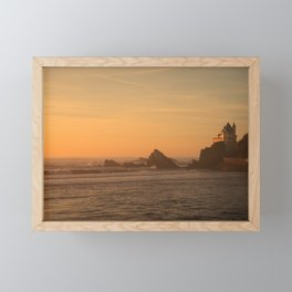 Sunset in the beach in Biarritz Framed Mini Art Print