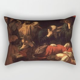 Death of the Virgin by Caravaggio (1606) Rectangular Pillow