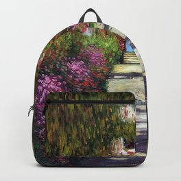 French Garden Pathway with Calla Lilies, Red Poppies, & Purple Irises, Monet's Garden at Giverny portrait painting by Claude Monet Backpack
