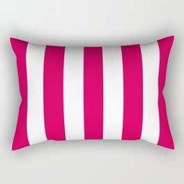 UA red fuchsia - solid color - white vertical lines pattern Rectangular Pillow