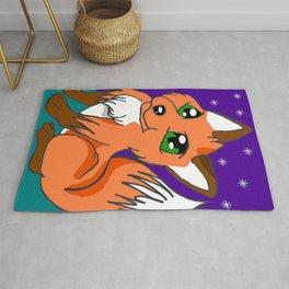 Cute Night Fox Rug