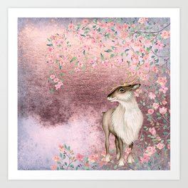 Deer in Cherry Blossom Spring Woods Art Print